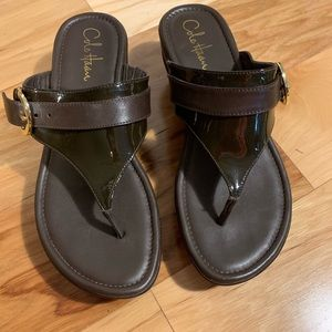 Cole Haan leather and patent wedge thongs. 9